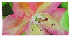 Hand Towel featuring the painting Rhodie With Dew II by Lynn Quinn