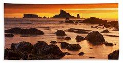 Rialto Beach Sunset Symphony Bath Towel by Mark Kiver