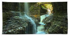 Rainbow Falls Watkins Glen Hand Towel by Adam Jewell