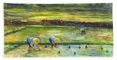 Bath Towel featuring the painting The Rice Paddy Field by Carol Wisniewski