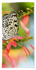 Rice Paper Butterfly In The Garden Hand Towel