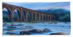 Bath Towel featuring the painting Richmond Train Trestle by Donna Tuten