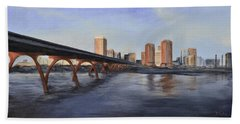 Bath Towel featuring the painting Richmond Virginia Skyline by Donna Tuten