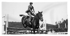 Rider Jumps At Horse Show Hand Towel