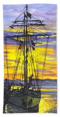 Bath Towel featuring the painting Rigging In The Sunset by Carol Wisniewski