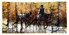 Rio Cowboy With Horses  Hand Towel by Barbara Chichester
