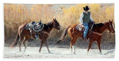 Hand Towel featuring the photograph Rio Grande Cowboy by Barbara Chichester