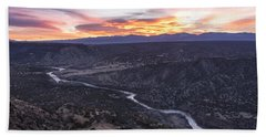 Rio Grande River Sunrise - White Rock New Mexico Bath Towel by Brian Harig