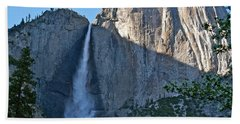 Rising Sun At Upper Yosemite Falls Hand Towel