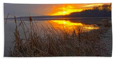 Bath Towel featuring the photograph Rising Sunlights Up Shore Line Of Cattails by Randall Branham