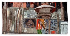 Hand Towel featuring the painting River Antoine Rum Distillery by Laura Forde