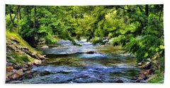 Hand Towel featuring the photograph River At Dillsboro by Kenny Francis