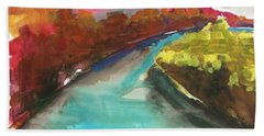Hand Towel featuring the painting River Bend In October by John Williams