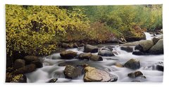 River Passing Through A Forest, Inyo Hand Towel