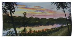 Bath Towel featuring the painting River Sunset by Martin Howard