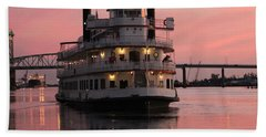 Riverboat At Sunset Hand Towel by Cynthia Guinn