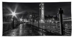 Riverfront Park Clocktower Seahawks Black And White Bath Towel