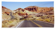 Road Passing Through The Valley Of Fire Bath Towel