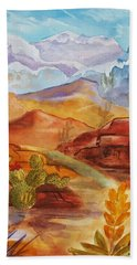 Bath Towel featuring the painting Road To Nowhere by Ellen Levinson