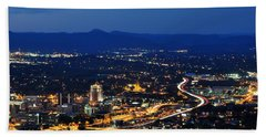Roanoke City As Seen From Mill Mountain Star At Dusk In Virginia Hand Towel by Paul Fearn