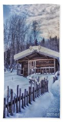 Robert Service Cabin Winter Idyll Bath Towel