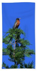 Robin Christmas Tree Topper Bath Towel