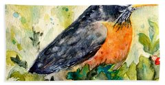 Bath Towel featuring the painting Robin In The Holly by Beverley Harper Tinsley