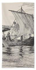Robinson Crusoe On His Boat Hand Towel