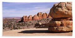 Rock Formations On An Arid Landscape Bath Towel