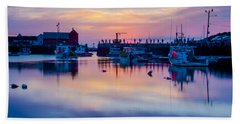Bath Towel featuring the photograph Rockport Harbor Sunrise Over Motif #1 by Jeff Folger