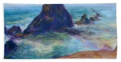 Rocks Heading North - Scenic Landscape Seascape Painting Hand Towel
