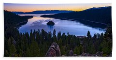Rocks Over Emerald Bay Hand Towel