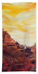 Hand Towel featuring the painting Rocky Landscape II by Teresa Wegrzyn