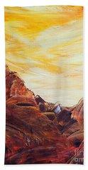 Bath Towel featuring the painting Rocky Landscape II by Teresa Wegrzyn