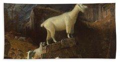 Rocky Mountain Goats Hand Towel by Albert Bierstadt