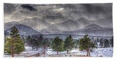 Rocky Mountain Snow Storm Estes Park Colorado Bath Towel