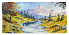 Hand Towel featuring the painting Rocky Mountain Stream by Lee Piper