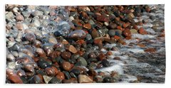 Rocky Shoreline Abstract Bath Towel by James Peterson