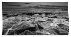 Rocky Sunset At Cape May Bw 16x9 Hand Towel