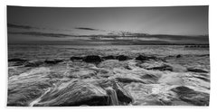 Rocky Sunset At Cape May Bw Hand Towel