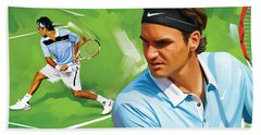 Roger Federer Artwork Hand Towel by Sheraz A