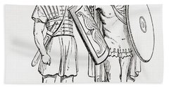 Roman Infantry Soldiers, After Figures On Trajans Column.  From The Imperial Bible Dictionary Hand Towel