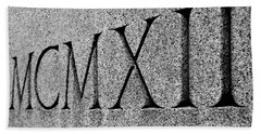 Roman Numerals Carved In Stone Bath Towel