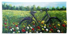 Hand Towel featuring the painting Romantic Break by Vesna Martinjak
