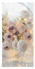 Romantic Shabby Chic Dreamy Pink And White Peonies - Shabby Chic Peonies In Basket Bath Towel