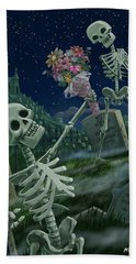 Bath Towel featuring the painting Romantic Valentine Skeletons In Graveyard by Martin Davey