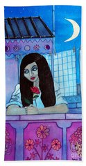 Romantic Woman In The Terrace At Night Hand Towel