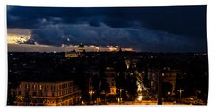 Rome Cityscape At Night  Bath Towel by Andrea Mazzocchetti