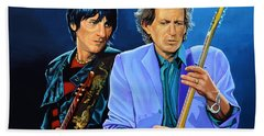 Ron Wood And Keith Richards Hand Towel by Paul Meijering