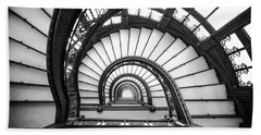 Rookery Building Oriel Staircase - Black And White Hand Towel